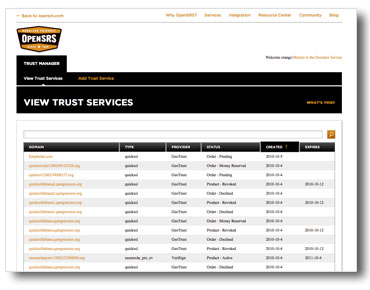 View trust services summary