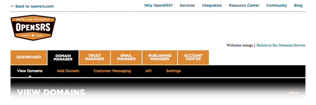 New OpenSRS control panel