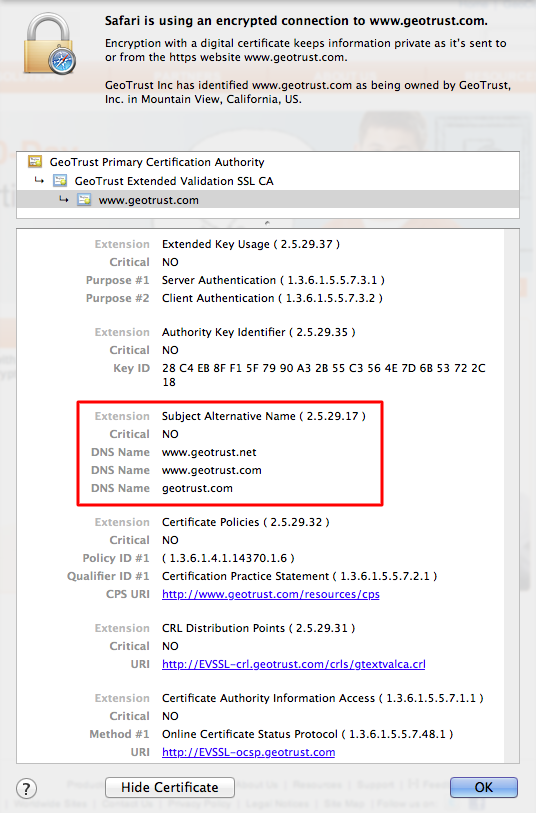 san certificate wildcard certificates geotrust example difference ev opensrs option single case