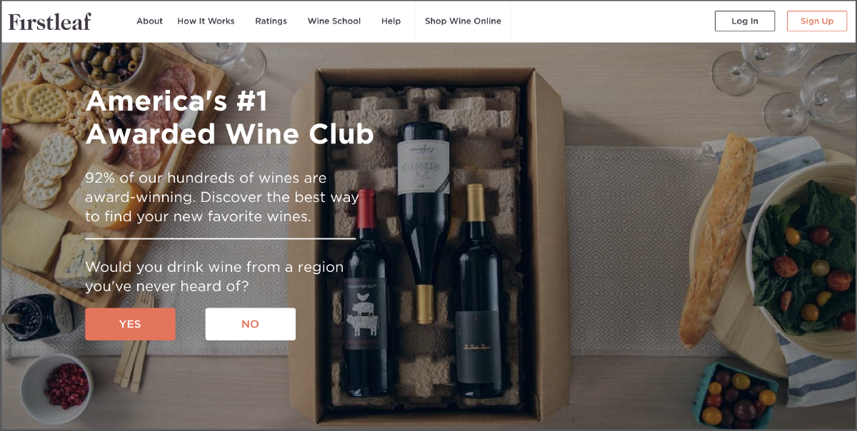 First Leaf Wine Club's website homepage.